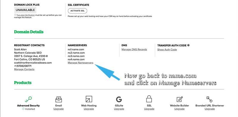Go back to name.com and click 'manage nameservers'
