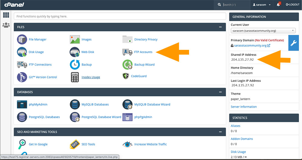 Click on FTP Accounts within cPanel