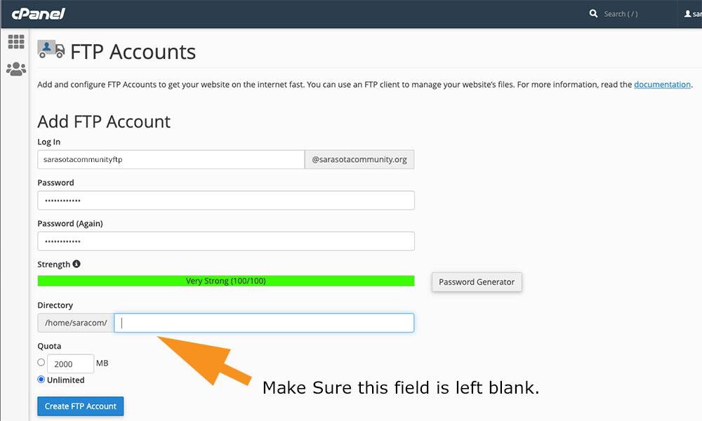 cPanel FTP Setup Process