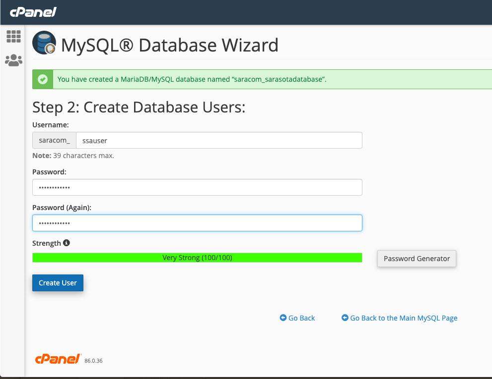 MySQL username and password